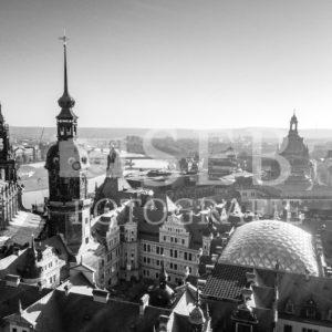 Stadtschloss Dresden von oben in schwarz/weiß - SEB Fotografie